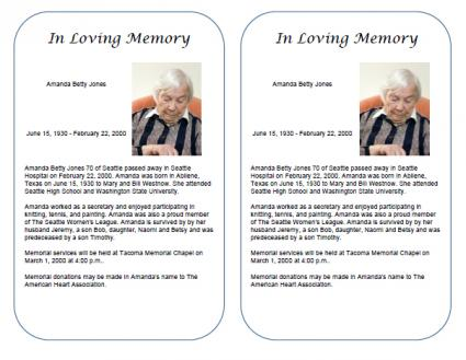 free sample obituary template