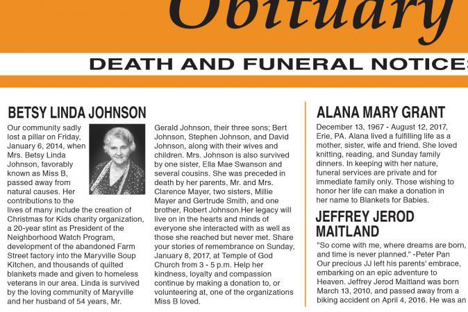Sample Obituary Formats - sample obituary