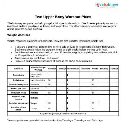 Upper Body Workout Plans LoveToKnow - weekly workout plan