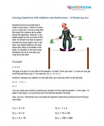 Pre Algebra Printable Worksheets - algebraic subtraction worksheets