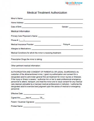 Medical Release Form for Minor - Release Forms