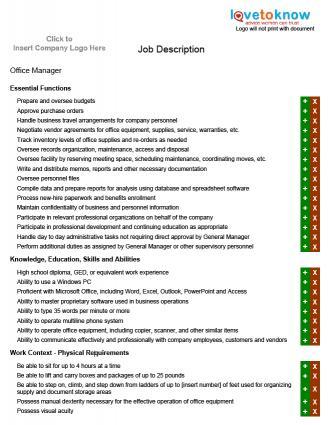 Examples of Job Description for a Manager - management job description