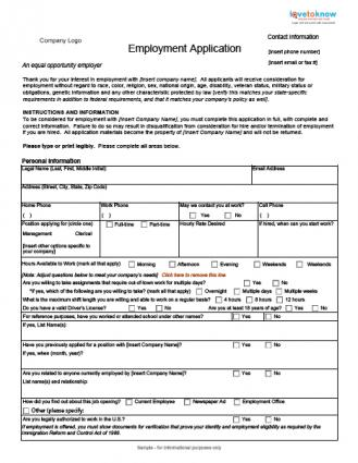 Blank Employment Application - Employment Application Forms
