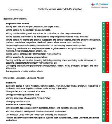Public Relations Writer Job Descriptions - public relations job description