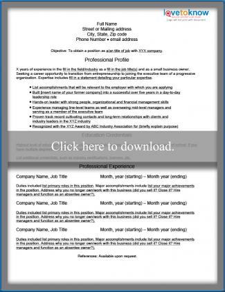Sample Business Owner Resumes LoveToKnow