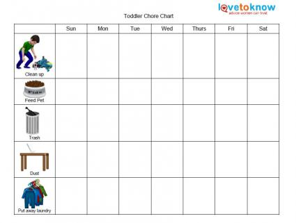 Printable Chore Charts for Kids - sample chore chart