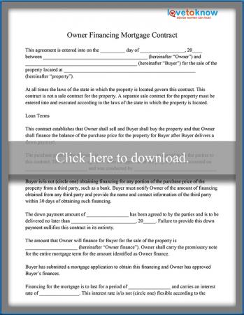 Owner Financing Mortgage Contract Sample