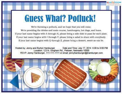 Printable Potluck Invitations Lovetoknow