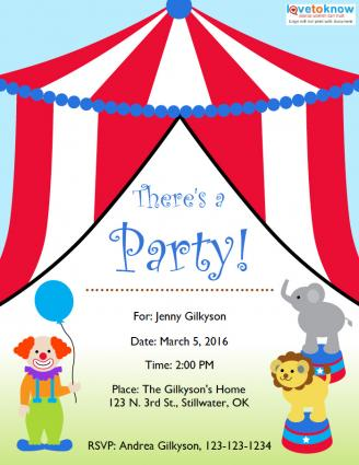 Circus Theme Party - Circus Party Invitation