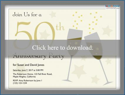 Printable 50th Anniversary Invitations - anniversary invitation template