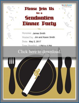 College Graduation Party Invitation Options - Free Printable Dinner Party Invitations