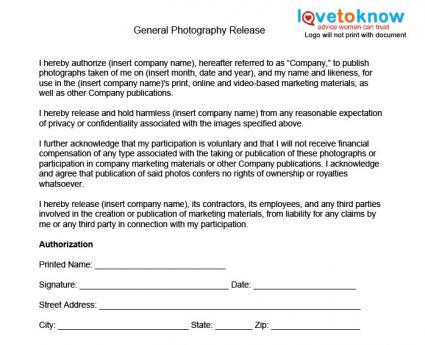 Photography Release Forms - generic photo release form