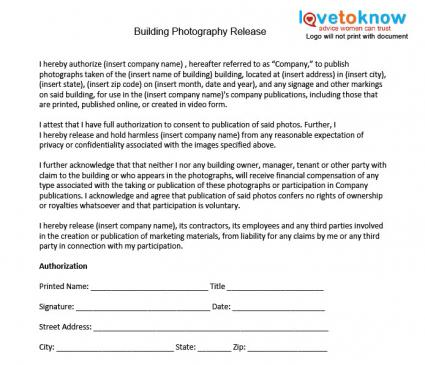 Photography Release Forms - liability contract template