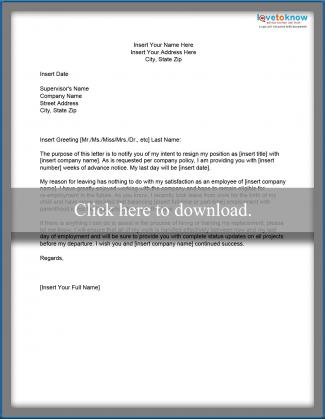 Template for a Resignation Letter After Maternity Leave - maternity resignation letter