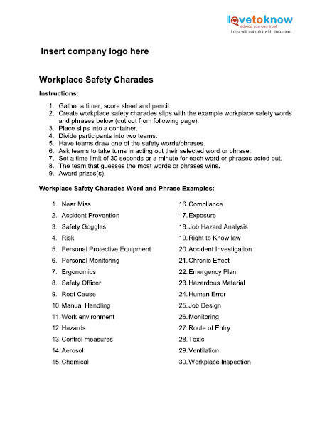 Safety Games for the Workplace LoveToKnow