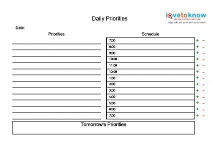 Printable Time Management Charts - stress management chart