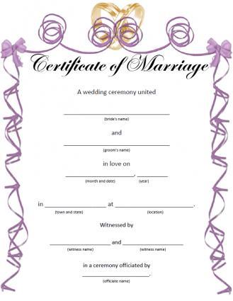 Printable Wedding Certificates for Fun