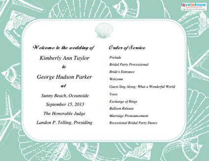 Programs for Beach Weddings - wedding program
