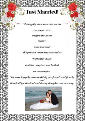 Free Printable Wedding Announcements - photo announcements