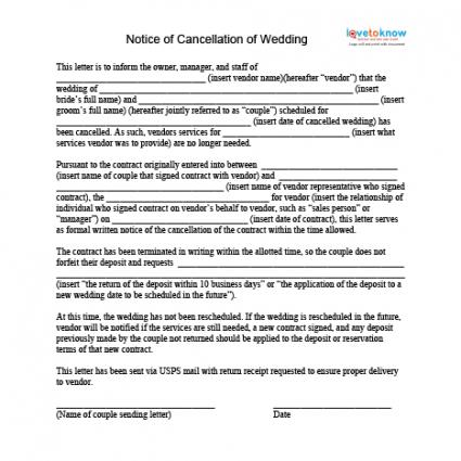How to Cancel a Wedding LoveToKnow - sample vendor contract