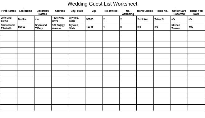 Wedding Guest List Worksheet - sample wedding guest list