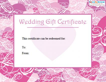 Printable Wedding Gift Certificates - printable generic gift certificates