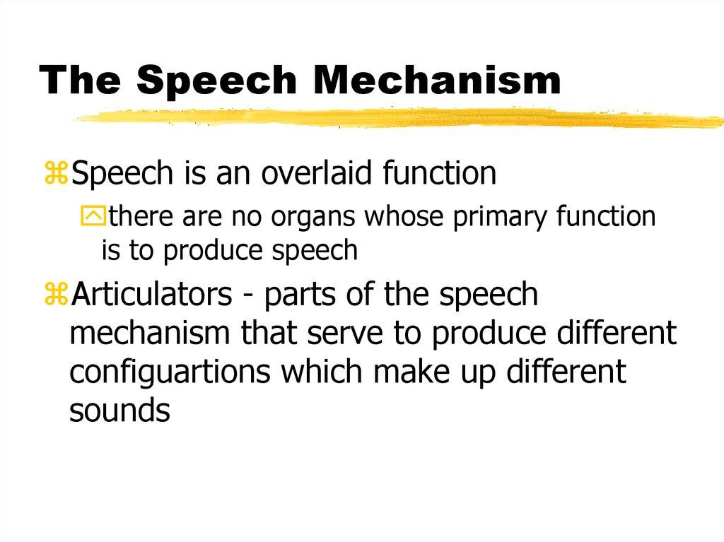 The Speech Mechanism - online presentation