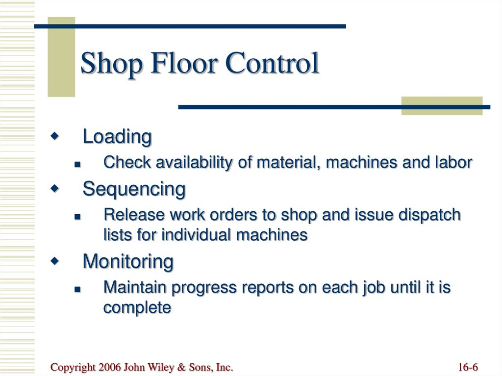 Objectives in Scheduling Loading Sequencing Monitoring Advanced - shopfloor control