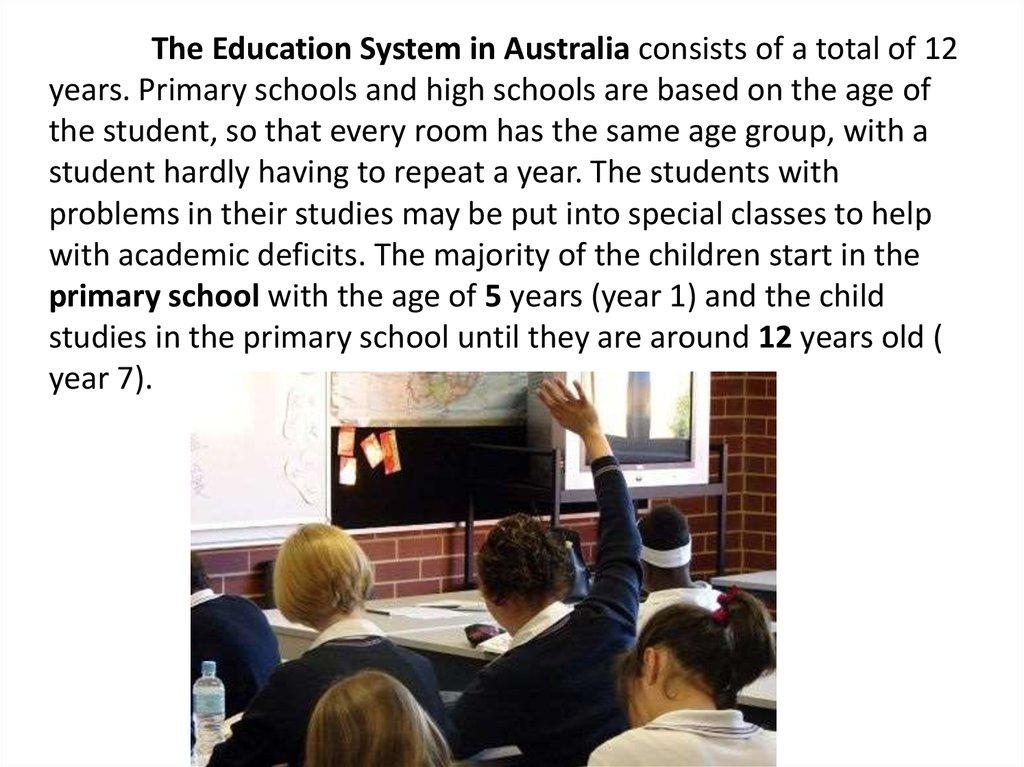 The Education System in Australia - online presentation