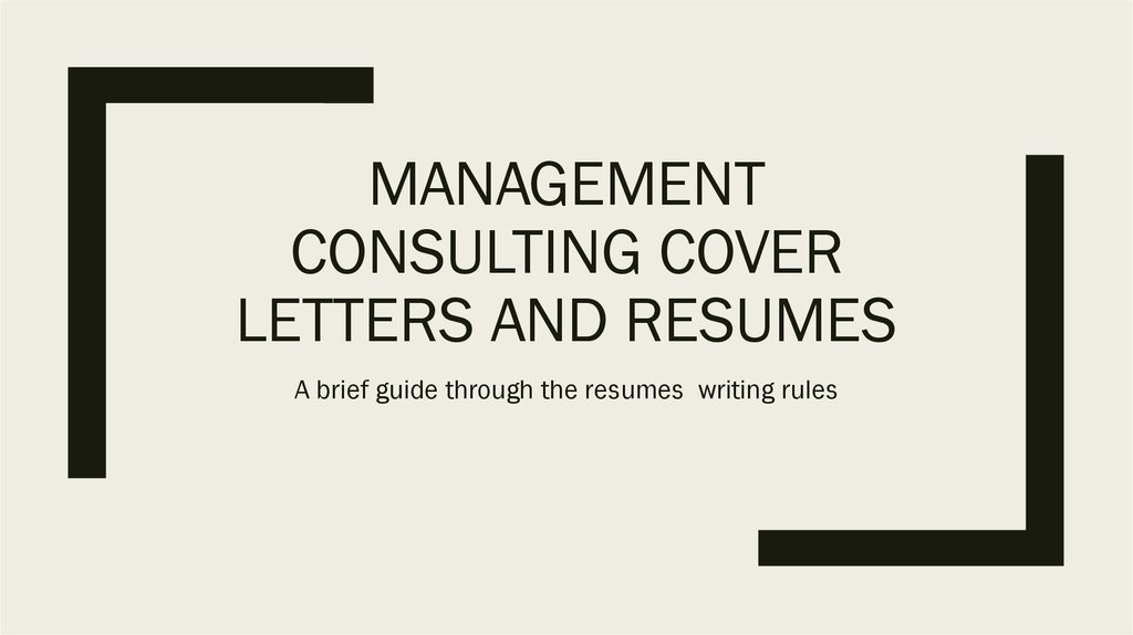 Management consulting cover letters and resumes - online presentation