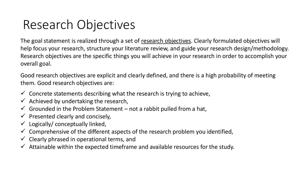 Goal and Objectives of Your Research - online presentation