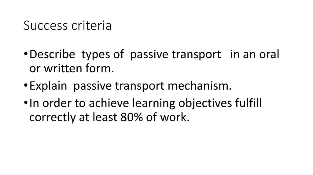 The mechanism of passive transport - online presentation
