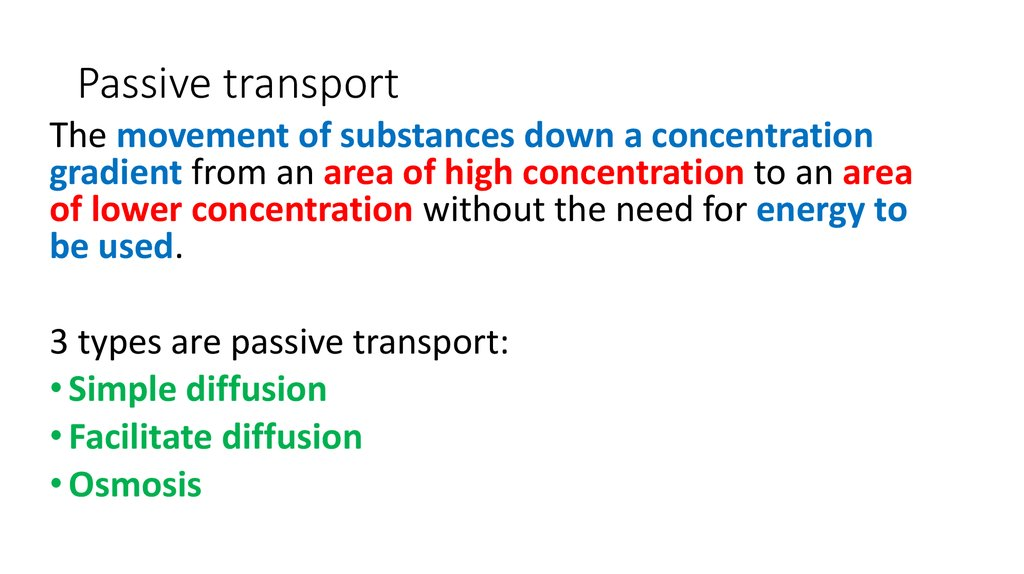 The mechanism of passive transport - online presentation
