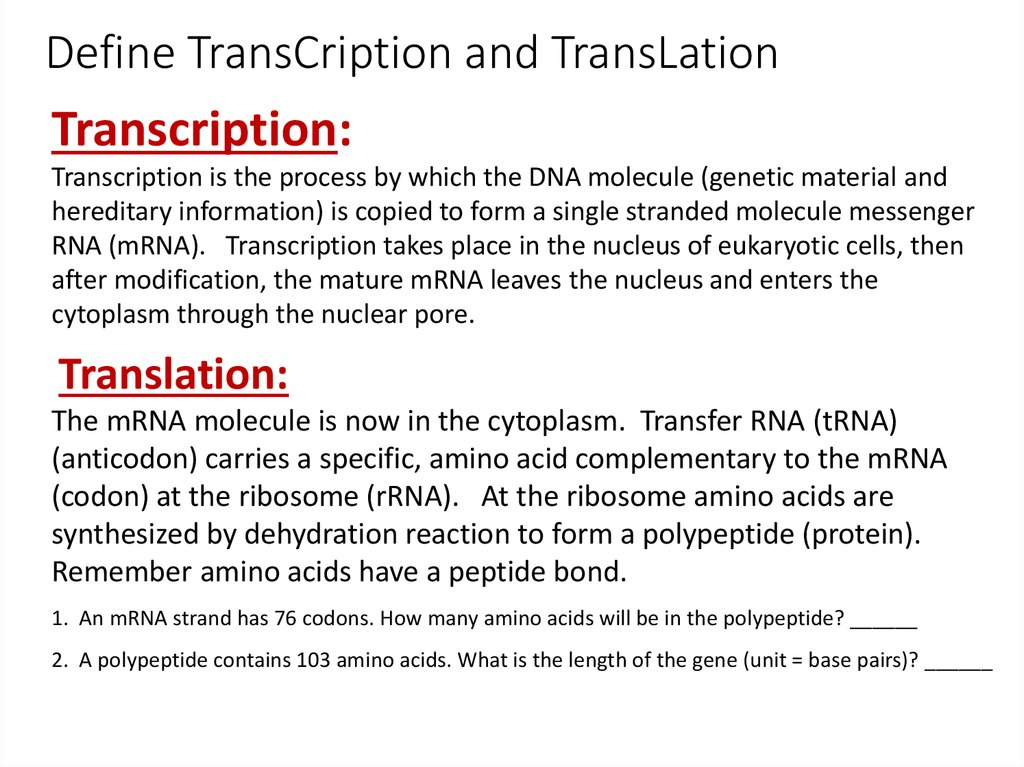 Transcription and Translation and the Genetic Code - online presentation