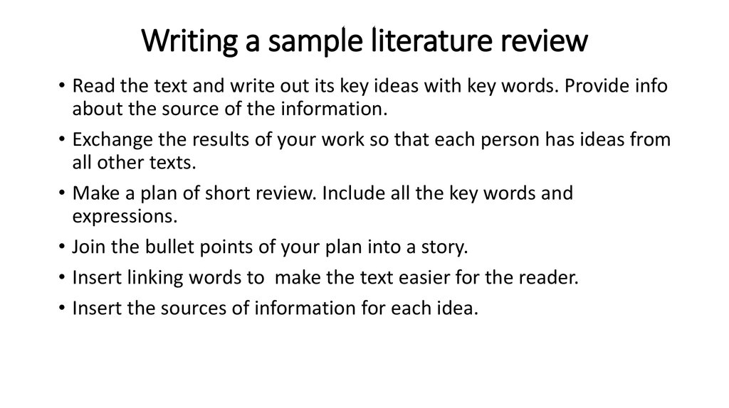 Literature review - online presentation