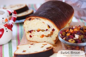 Romanian dried fruit swirl bread