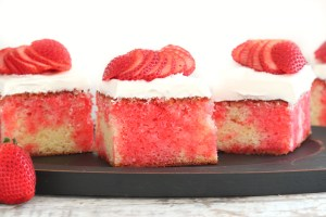 Strawberry poke cake (made from scratch)