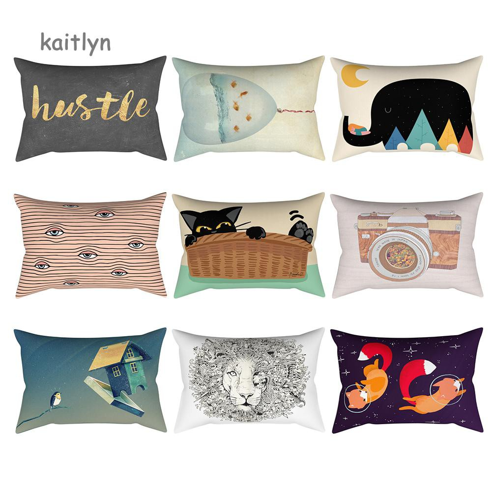 High Quality Geometry Animal Cotton Linen Pillow Case Waist Throw Cushion Cover