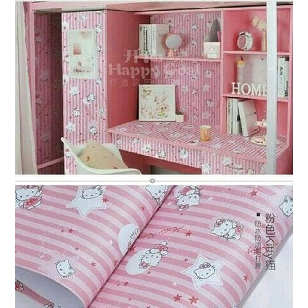 Dekorasi Kamar Spongebob Wallpaper Dinding Motif Hello Kitty Kamar Anak Wallpaper Sticker Karakter