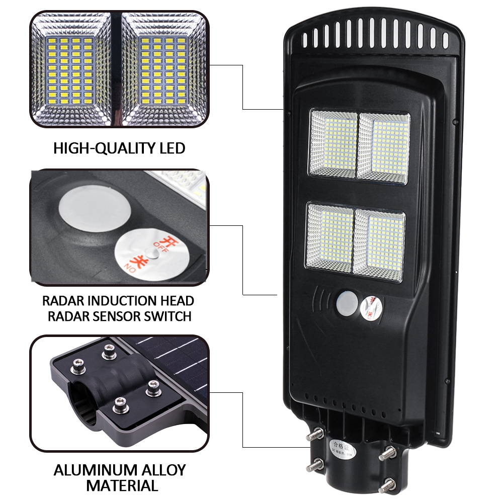 250w 576 Led Wall Street Light Solar Panel Outdoor Garden Lamp Remote Control