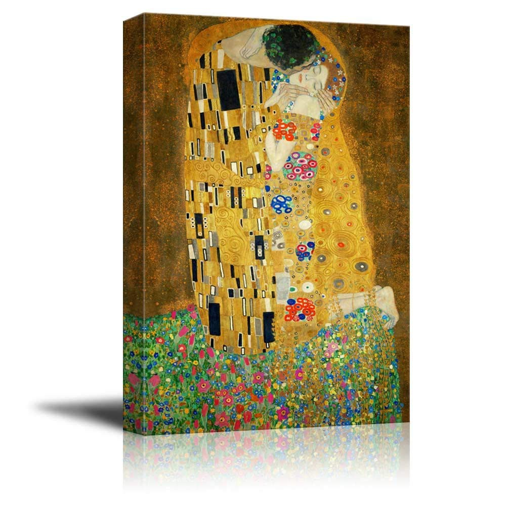 The Kiss By Gustav Klimt Painting Canvas Art Wall Decor Prints Poster Home Decor Shopee Malaysia