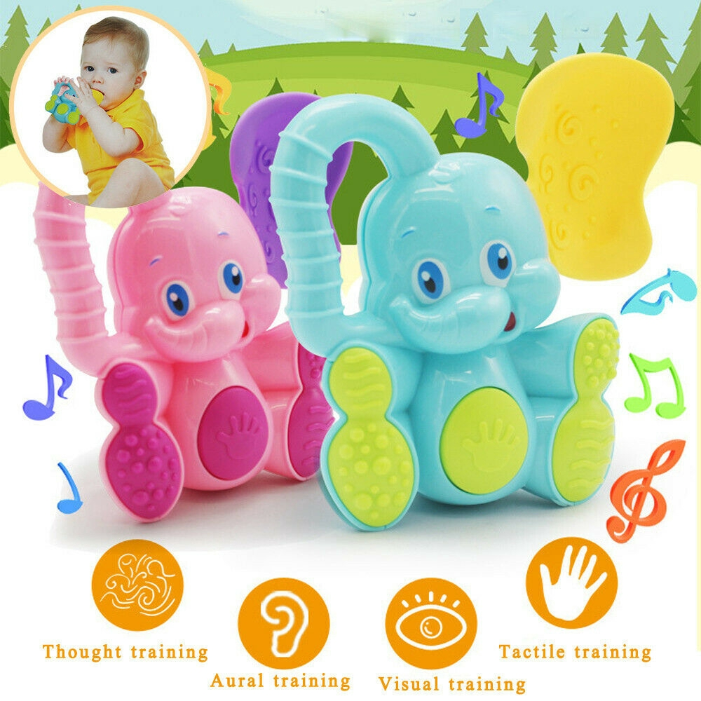 Travel Trio Musical Pram Tie Safety Baby Toddler Teether Hand Shake Bell Ring Funny Educational Elephant Fawn Musical Toy