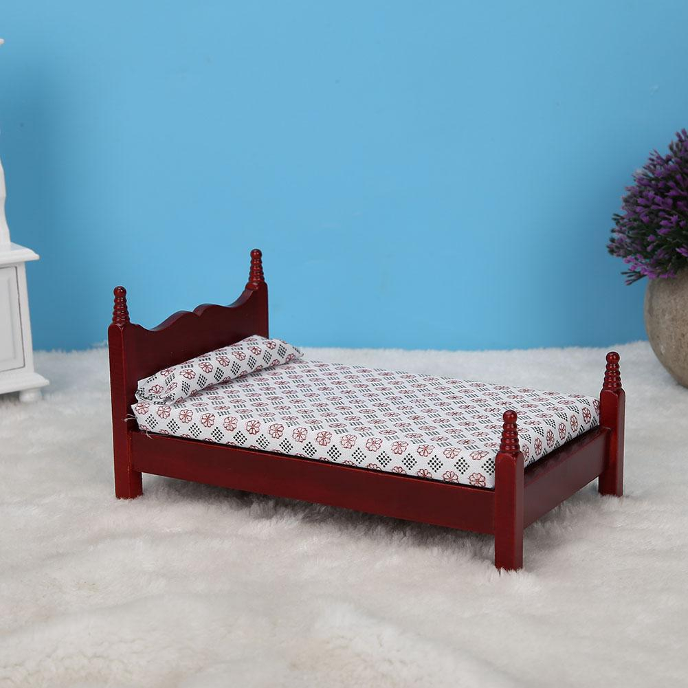 1 12 Doll House Mini Red Wooden Single Bed Furniture Accessory Kid - Single Bed Price