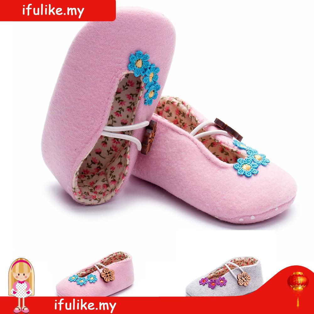 Newborn Elastic Shoes New Design Newborn Toddler Girls Floral Print Elastic Button Flower Soft Sole Shoes