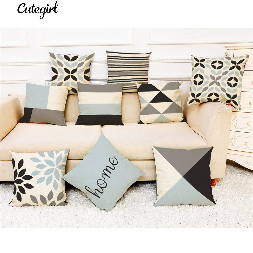 Sofa Jungkook Mp3 Cod Geometric Stripe Letters Linen Throw Pillow Case Sofa Bed Decor Cushion Cover