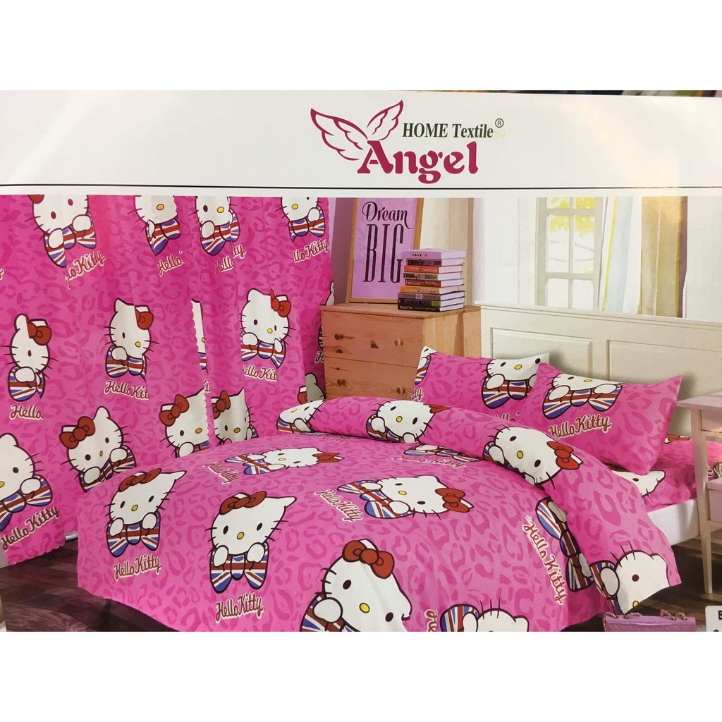 Serba Hello Kitty Angel 6 1 Set Hello Kitty Bedsheet Curtains
