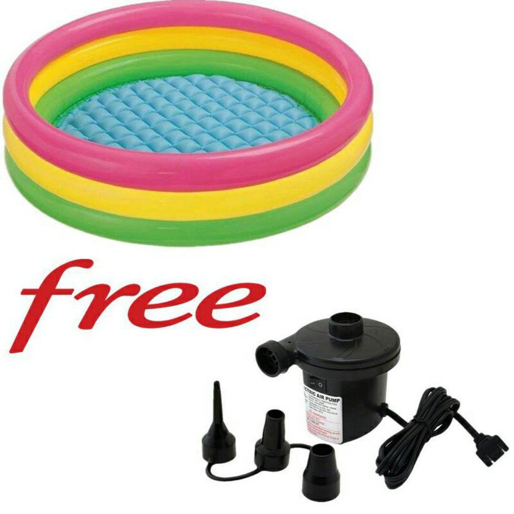 Intex Zwembad 2.60 X 1.60 Intex 3 Ring Inflatable Swimming Pool W F Eletric Air Pump