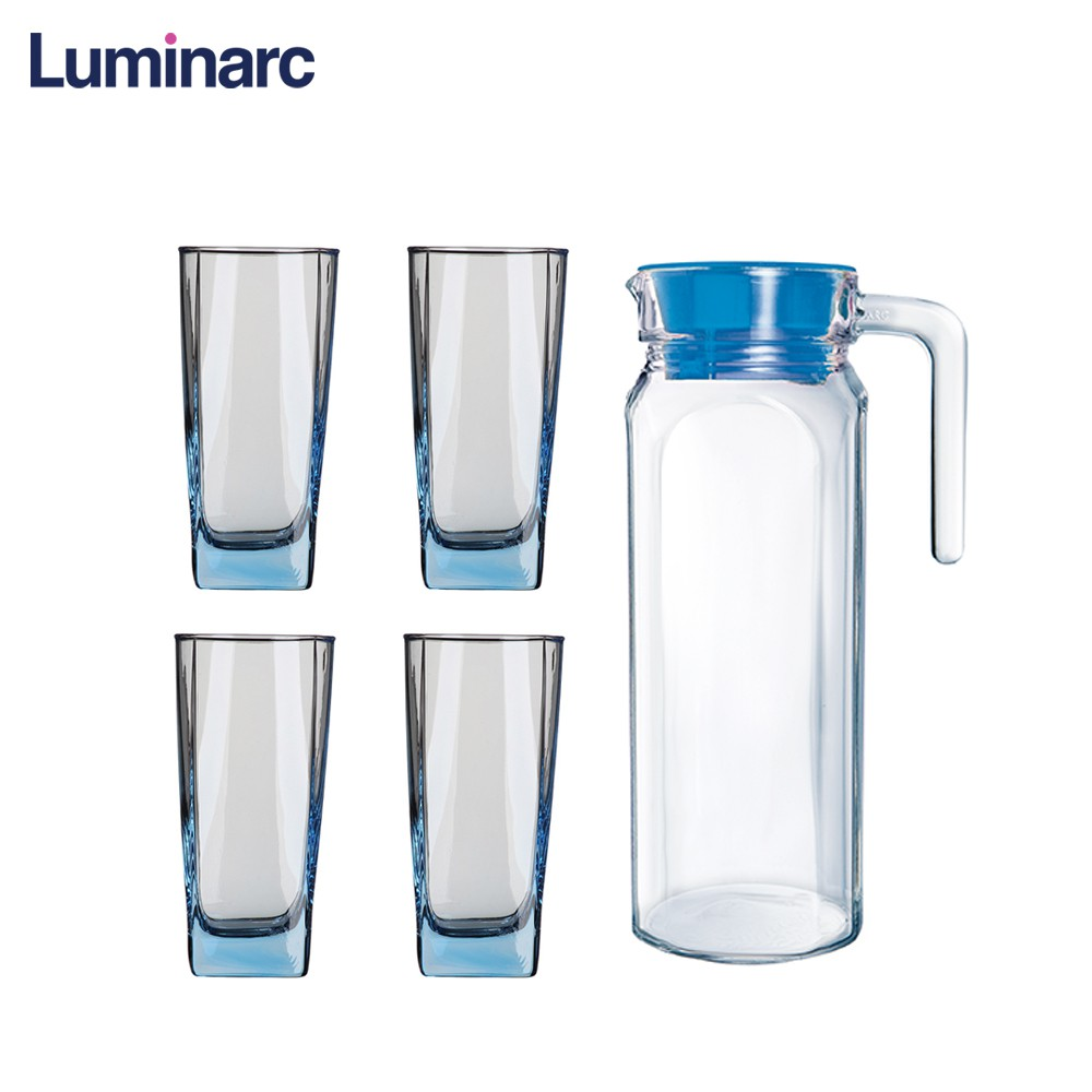Luminarc Glass Fridge Heat Resistant Glass Water Jugs 5pc Drinkware Set