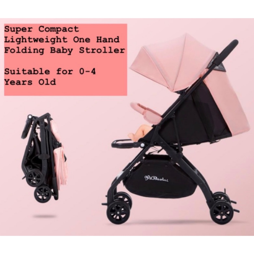 Lightweight Folding Pram Mini Cabin Lightweight Travel Compact One Hand Folding Children Kid Toddler Newborn Baby Infant Stroller Pram 8 Wheels
