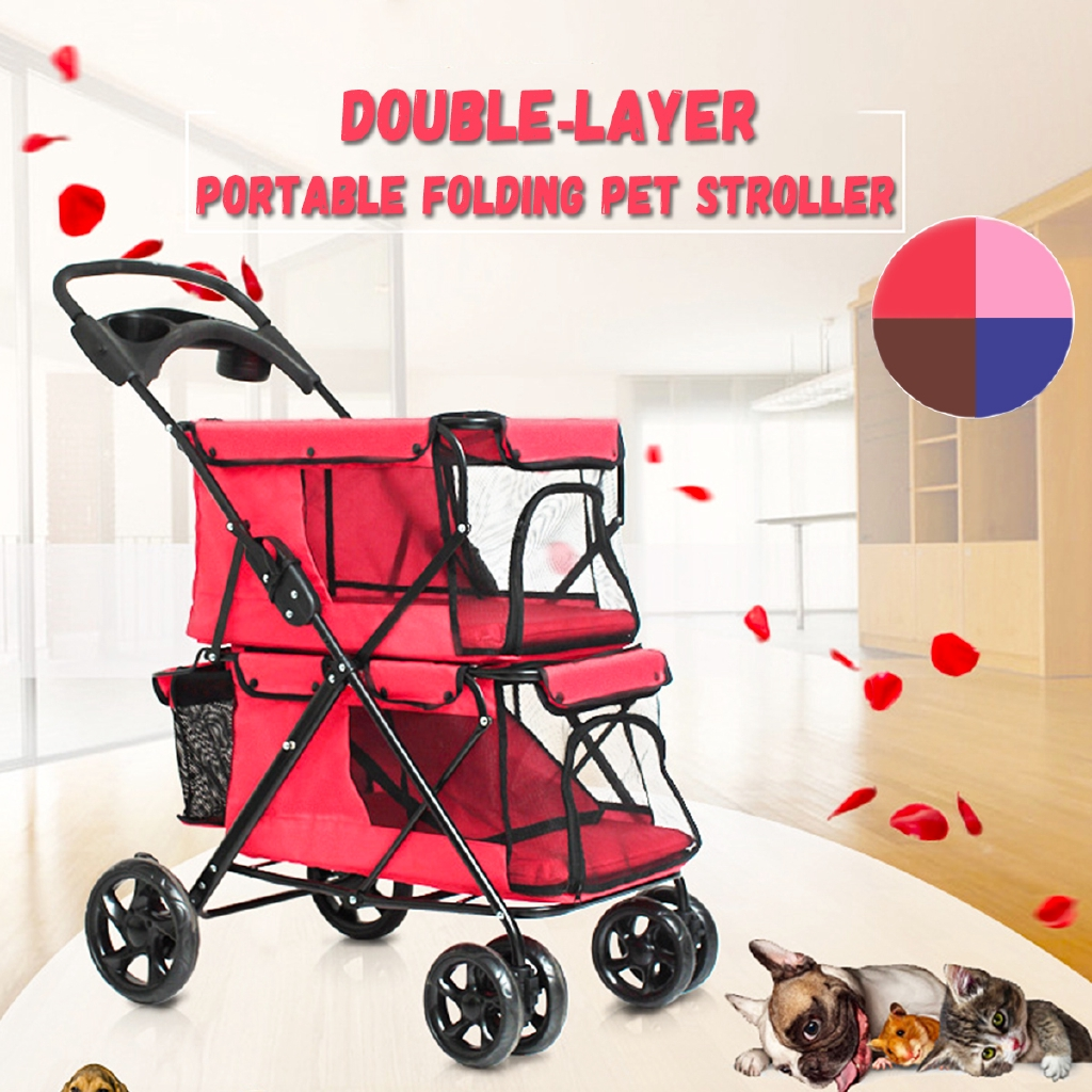 Oxford Pet Stroller Ebay Portable Folding Double Layer Pet Stroller For 2 Dogs Large Space Four Wheeled
